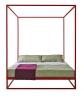 Asha Baldaquin (design Studio Controdesign a Xam Project Studio), rozměr 160 x 180 x 200 cm, ocelová konstrukce, čalounění látka a kůže, cena od 56 350 Kč, XAM.
