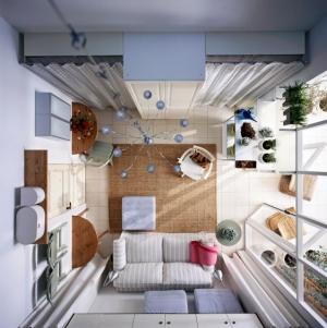 Malý obývací pokoj s kuchyní