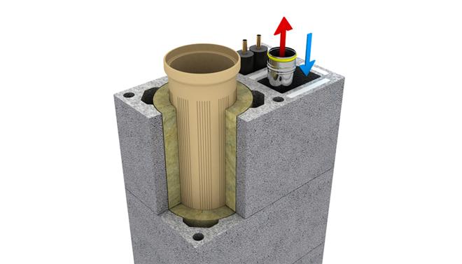 Inovovaný komín Kombigas odvede spaliny od krbu i plynového kotle
