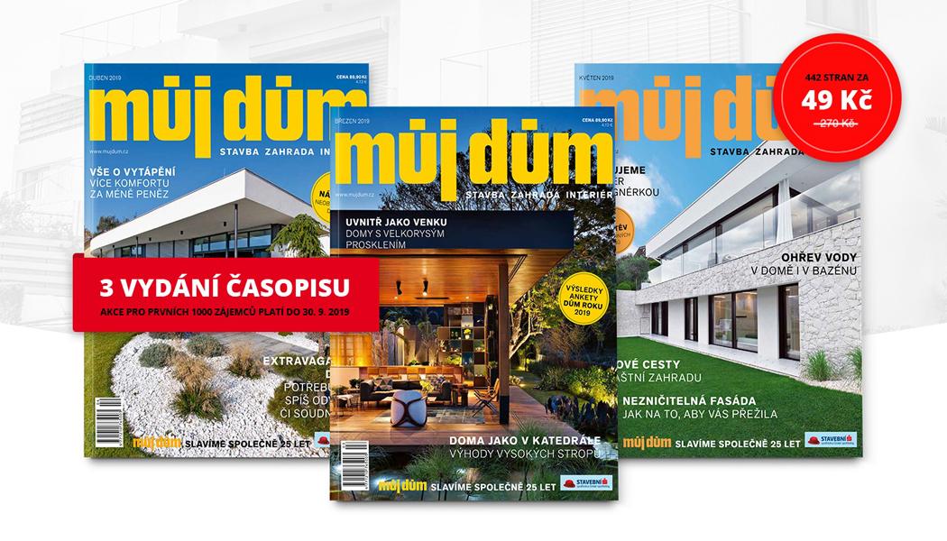 Tři luxusní časopisy o bydlení za pouhých 49 Kč!